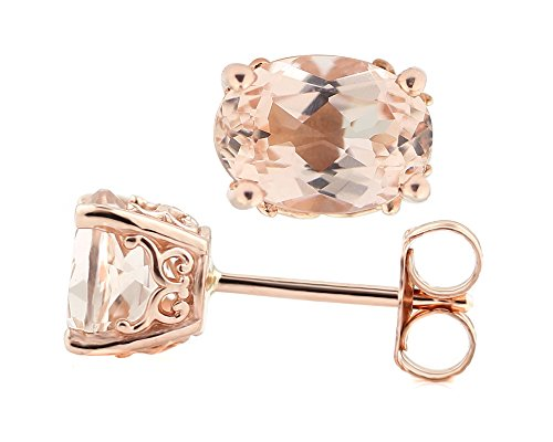 Solid 14k Rose Gold Morganite Stud Earrings (7x5mm Oval) ()