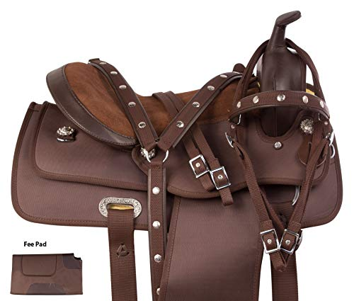 Pleasure Tack Trail Saddle (AceRugs Brown Western Pleasure Trail Comfy Cordura Horse Saddle TACK Set Synthetic (16))