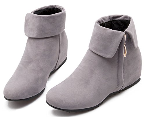 Image of IDIFU Women's Sweet Fold Side Zip Up Flat Heighten Ankle Boots Faux Suede Short Booties