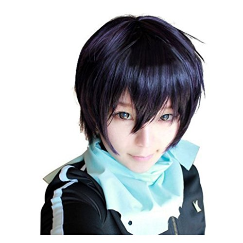 [Cosplay Wig Short Black Purple Hair for Noragami Anime Yato Yaboku Costume] (Yato Cosplay Costume)