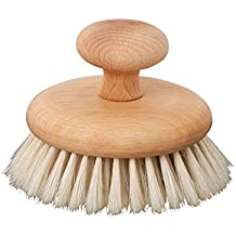Redecker Natural Pig Bristle Massage Brush with Oiled Beechwood Knob, 3-7/8-Inches
