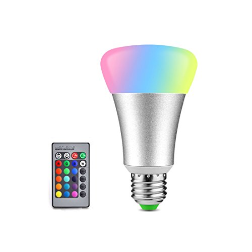 Alotm E27 LED Light Bulb 10W RGB Color Changing Dimmable RGBW RGBWW LED Light Bulbs Daylight 6000k Lamp with Remote Controller for Home Bar Party KTV Holiday - Outlet Charleston In