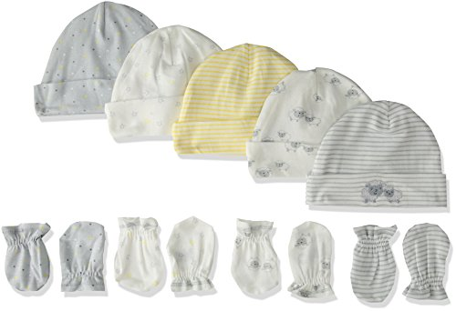 Gerber Baby Girls Pack of 5 4 Pair, Lil' Lamb, Cap 0-6M, Mitten 0-3M ()