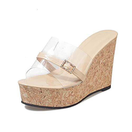 ChyJoey Women's Cork Platform Wedge Sandals High Heels Slip On Open Toe Glitter Buckle Clear Slide Sandals Beige