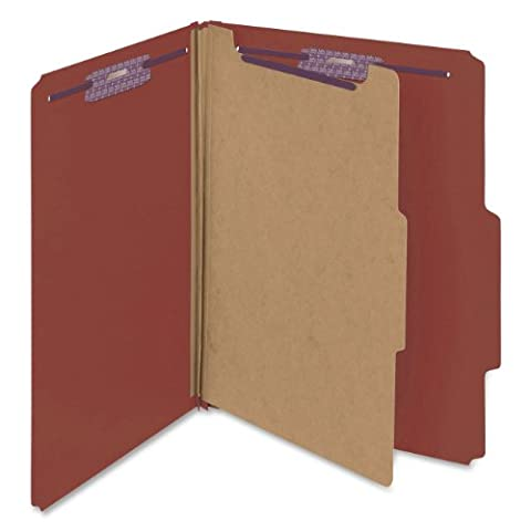 SMEAD Pressboard Classification Folders, Self Tab, Letter, Four-Section, Red, Case Pack of 10 - Manila Divider
