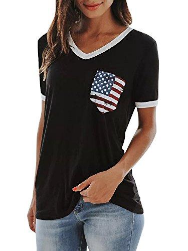 JOYCHEER Womens V Neck Tops Summer Short Sleeve American Flag Print Casual Tee T-Shirts - Cotton V-neck Blouse