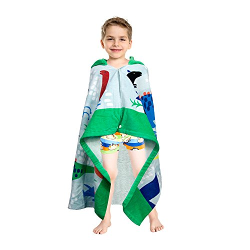 LALIFIT 100% Cotton Kids Hooded Poncho Swim Beach Bath Pool Towel for Girls/Boys(Dinosaur) by LALIFIT (Image #6)