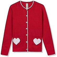 Kid Nation Girls' Sweater Long Sleeve Cardigan with Love Heart Pocket Cotton School Uniform Knit Sweater