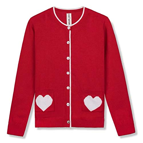 Kid Nation Girls' Sweater Long Sleeve Cardigan with Love Heart Pocket Cotton School Uniform Knit Sweater (Girls Sweaters Pullover)