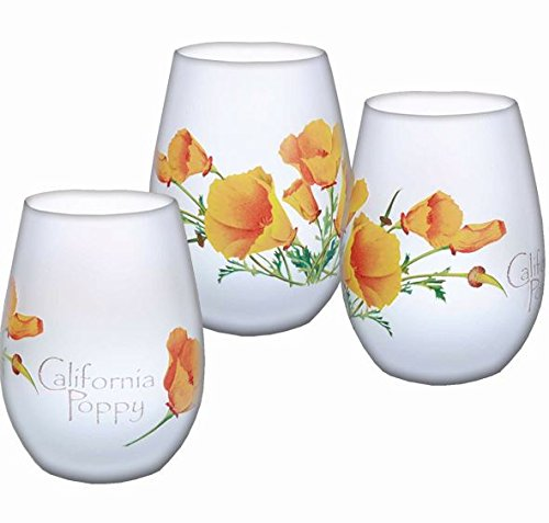 SF Mercantile California Poppy Frosted Stemless Wine Glass