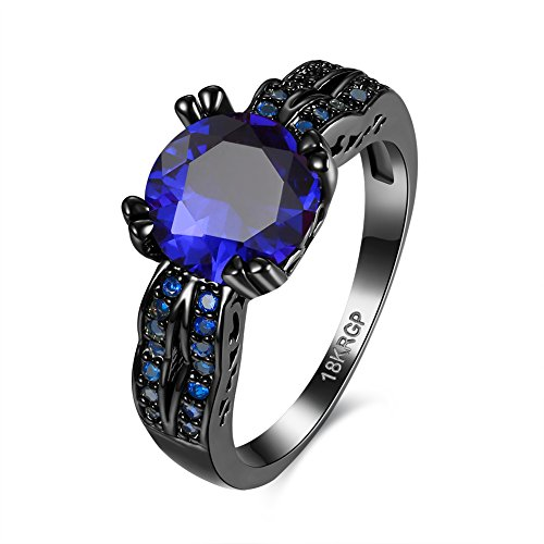 Eternity Love Wedding Bands Women's 18K Black Gold Plated Rings Princess Cut Blue/Green/Purple CZ Crystal Engagement Rings Best Promise Rings Anniversary Wedding Rings for Lady Girl, Blue, 8