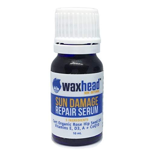 NEW Waxhead Sun Damaged Skin Repair Serum - All Natural Antioxidant Face Oil. Reduce Sun Spots, Acne Scars, Brown Spots, Fine Lines near Eyes. Detox + Brighten Skin. For Facial area and Hands (10mL)