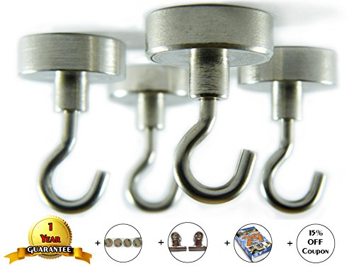 Super Strong Neodymium Magnetic Hooks - Pack Of 4 - Command Strips Hooks Set - Picture Hanging - Heavy Duty - For Ceiling Grill BBQ Coat Earth Magnets Peg Board Tools - 4 FREE Bounuses