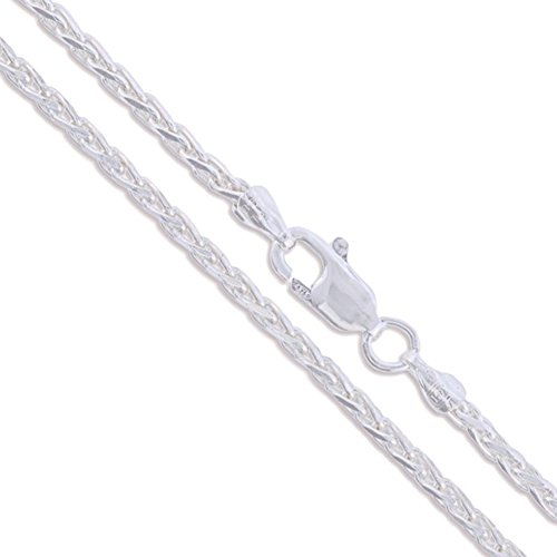 Sterling Silver Diamond-Cut Wheat Chain 2mm Solid 925 New Spiga Necklace 22