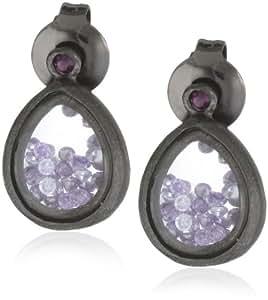 Urban Posh Oxidized Silver Teardrop with Purple Cubic Zirconia Post Earrings