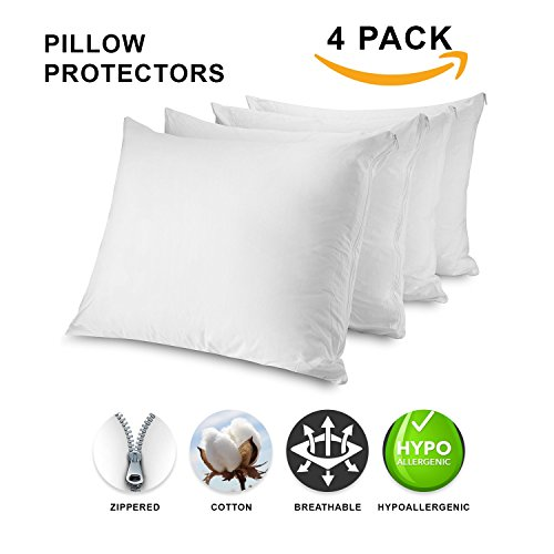Mastertex Zippered Pillow Protectors 100% Cotton, Breathable & Quiet (4 Pack) White Pillow Covers Protects from Dirt, Dust Mites & Allergens (King - Set of 4 - 20x36)