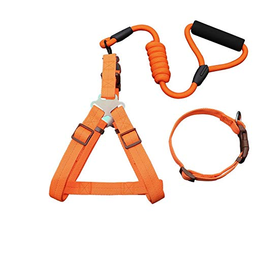 orange three-piece L orange three-piece L YSDTLX Dog Chain Dog Leash Chest Strap With Hyena Rope In Large Dog Pet Supplies orange Three-Piece Suit L