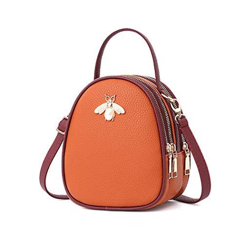 Purse Travel for Black Backpack Handbag brown White Work Mini Small Vistatroy School Shoulder Bag Bag Hiking Bee Genuine Leather Daily qZT8P0f
