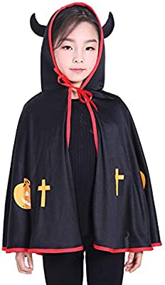 JUNGEN Capa Niños con Capucha Cosplay Demonio Disfraz de Halloween ...