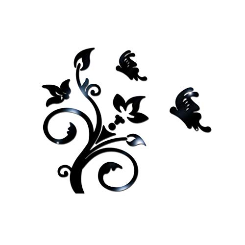 Berryhot Wall Stickers for Living Room, Art Decal Mirror Flower DIY Self-Adhesive Wall Decoration Removable Wallpaper 3D Vinyl Sticker for Home Bedroom Bathroom Decor Mural (Black)