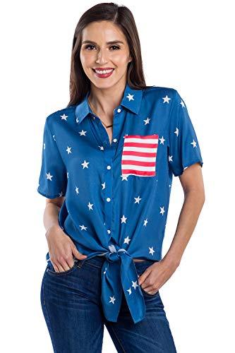 Women's Old Glory American Flag Hawaiian Shirt - American Flag Button Down for Ladies