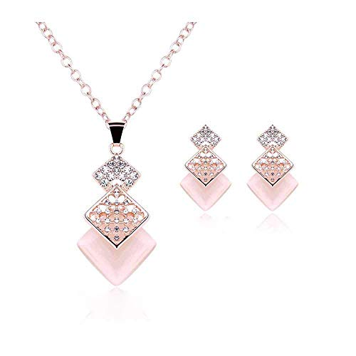 - wattana New-Rose-Gold-Plated-Crystal-Pink-Opal-Cube-Drop-Jewelry-Sets-Necklace-Earrig by Wats