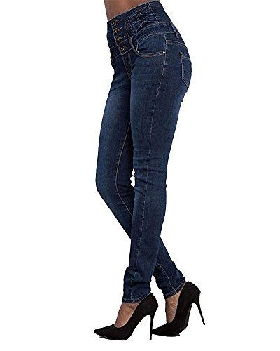 da Matita Leggings Vita Denim Jeans Elastico Skinny Lunghi eleganti 2 Pantaloni Donna Alta Blu Scuro pUvxqR1