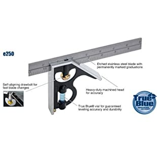 Empire Level E250 12-Inch Heavy Duty Professional Combination Square w/Etched Stainless Steel Blade and True BlueR Vial