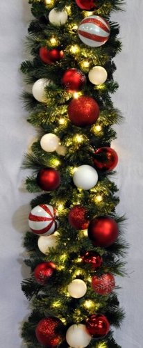 Queens of Christmas WL-GARBM-09-CDY-LWW Pre-Lit LED Blended Pine Christmas Garland Decorated with The Candy Themed Ornament Collection, 9', Warm White by Queens of Christmas