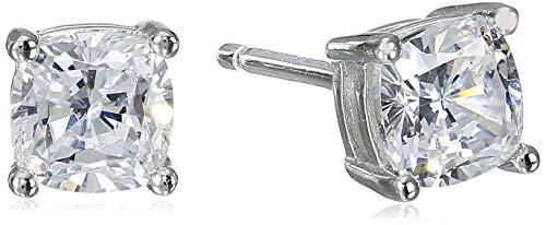 Square Cubic Zirconia Solitaire - Platinum Plated Sterling Silver Cushion