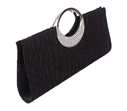 Women's Purse Bag Black Clutch Red Party Black Satin Handel Bag Diamante Bridal Wallet Evening Vincenza Elegant Satin Ladies Crystal Wedding Fashion Prom Lace Handbag xSU8U7O6w