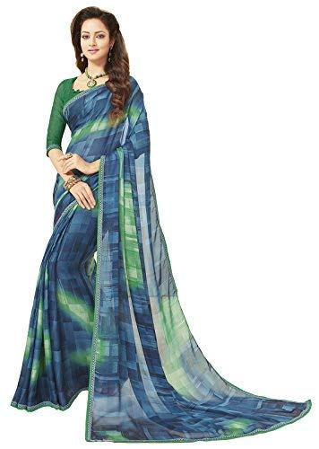 Glory Sarees Women's Printed Criva Crepe Saree(FT6008B_Blue)