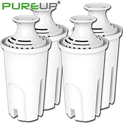 PUREUP Standard Water Filter Compatible with Brita and Pur Water Pitchers and Sispensers, Premium Pitcher Replacement Filters 4pack
