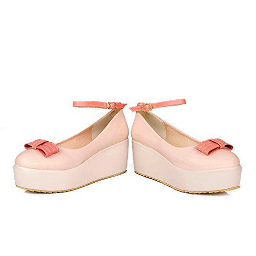 Women's Apricot Platform Solid WeenFashion Round US Toe Pumps whith B M Closed 9 5 Jane Bowknot Mary Heel PU Mid Wedge d0zzSx