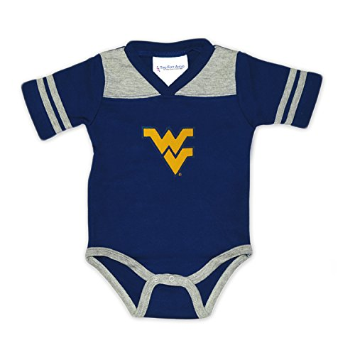 West Virginia Mountaineers Two Tone Football NCAA College Newborn Infant Baby Creeper (6 Months)