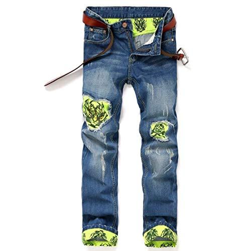 Middle Jeans Strappati Senza Fit Waist Pantaloni Slim Men Cinturino Casual Straight Denim Pants Giovane Stretch In Blu E6YqFnXXpw