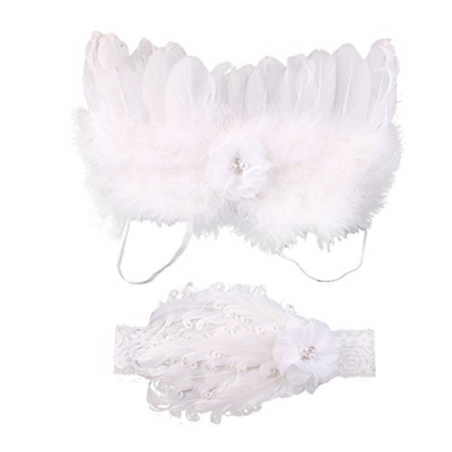 [DZT1968® Baby Girl Headband With Angel Feather Wing Costume Photo Prop Outfit (A)] (Angel Costume Hair)