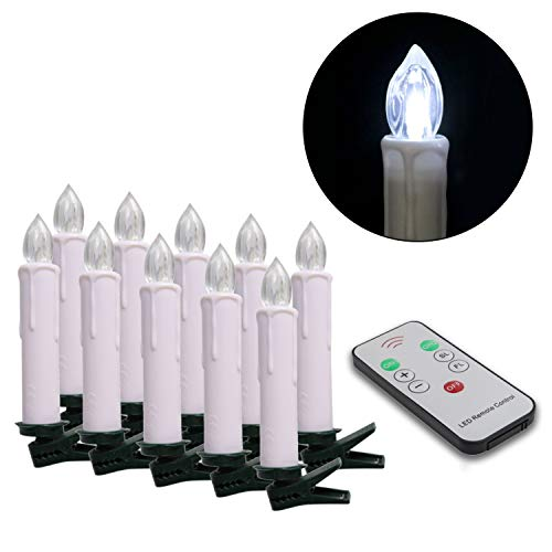 Youngerbaby Set of 10 Cool White LED Taper Candles Battery Operated Lights with Remote Control, Flameless Flickering 4