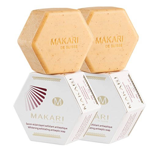 Makari Classic Whitening Exfoliating Antiseptic Soap 7 oz. – Cleansing & Moisturizing Bar Soap for Face & Body – Brightens Skin & Fades Dark Spots, Acne Scars,Blemishes & Hyperpigmentation - 2 PACK - Antiseptic Body