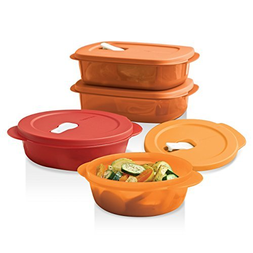 Food Storage from the Refrigerator to the Microwave Containers CrystalWave Tupperware Orange 4 Piece Set (Tupperware Square Round Lids)