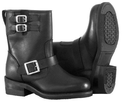 River Road Twin Buckle Engineer Womens Boots Black 9.5W
