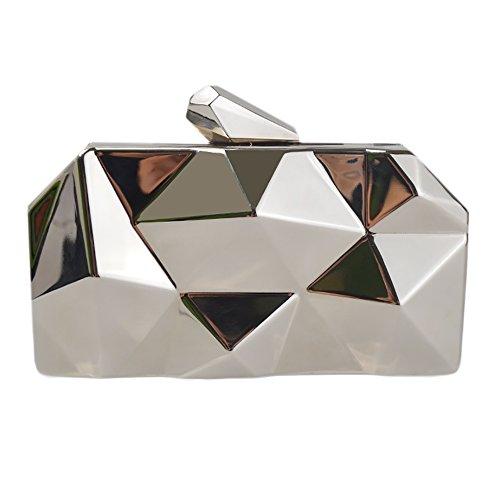 QZUnique Women's Alloy Metal Abstract Stone Cut Hardcase Evening Bag Clutches Handbag Silver