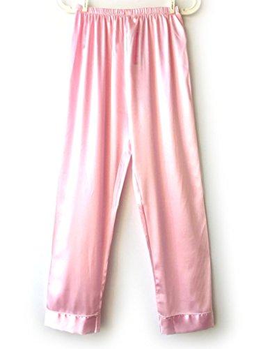 Wantschun Women's Satin Silk Sleepwear Pyjamas Pants Nightwear Loungewear Pajamas Bottom Trousers Pink (Sleepwear Silk Sleep Pant)
