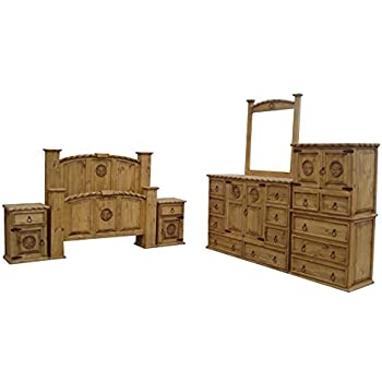Texas Star Rustic Bedroom Set With Rope Accents Solid Wood (Queen Size)