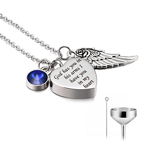 CAT EYE JEWELS Stainless Steel Cremation Keepsake Memorial Urn Necklace with Funnel Kit N009
