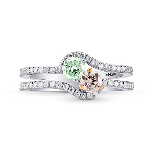0.82Cts Pink Green Diamond Engagement Halo Ring Argyle Set in Platinum GIA