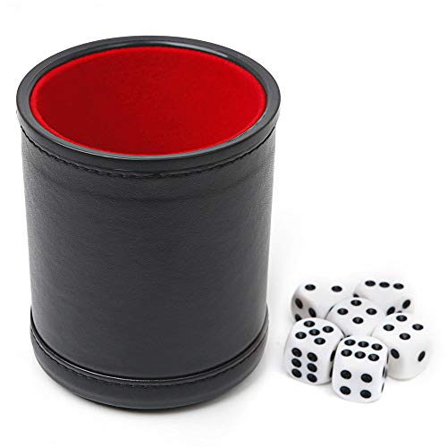 Felt Lined Professional Dice Cup - with 6 Dice