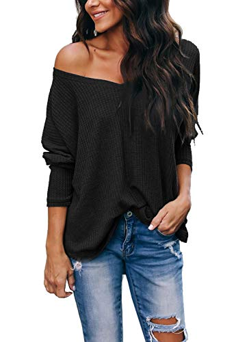 Top Sweater Black - iGENJUN Women's Casual V-Neck Off-Shoulder Batwing Sleeve Pullover Sweater Tops,Black,M