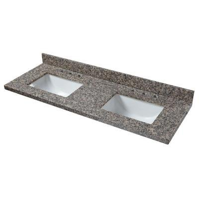 Pegasus 62887 Granite Double Bowl Vanity Top in Sircolo with Basins, White - 61 in.<BR>