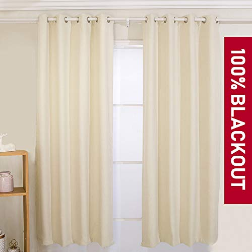 (YIBU 100% Blackout Curtains Set, Thermal Insulated & Energy Efficiency Window Drapery, Lined Silky Performance (2 Panels, W42 x L63 -Inch,)